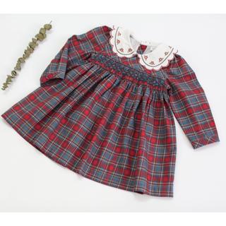 再入荷 白襟刺繍 スモッキング チェック レッド×グレー 長袖 ワンピース (ワンピース)
