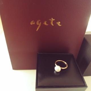 アガット(agete)の美品!agete 淡水パール ピンキーリング (リング(指輪))