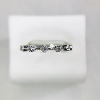 k18 WG 3連ハーフエタニティ ダイヤモンド リング(リング(指輪))