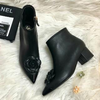 シャネル(CHANEL)のお勧めChanelシャネル ハイヒール ショートブーツ ブラック 正規品(ブーツ)
