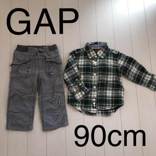 babyGAP - baby GAP 90cm 秋冬 ネルシャツ&ズボン SET