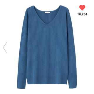 ジーユー(GU)のワイドリブ 薄手Vネックセーター GU(ニット/セーター)