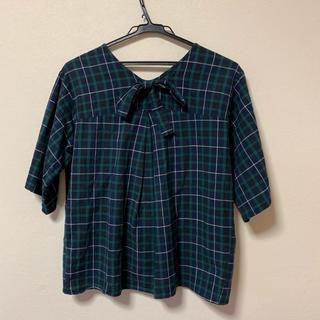 サマンサモスモス(SM2)の後ろリボン 5分袖カットソー(カットソー(半袖/袖なし))