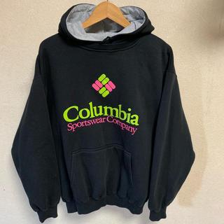 コロンビア(Columbia)の80s コロンビア ロゴ スウェット パーカー 古着 ビンテージ 黒 ブラック(パーカー)