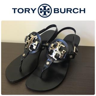 Tory Burch - 2・3回使用/美品★トリーバーチ★サンダル ヒール6cm★ブラック×シルバー