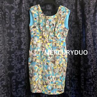 マーキュリーデュオ(MERCURYDUO)のマーキュリーデュオ■花柄 ブルー ワンピース(ミニワンピース)