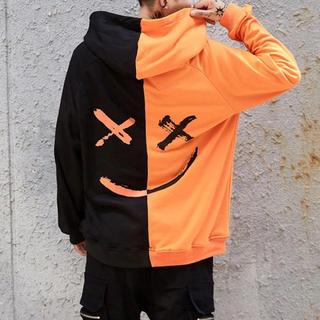 オーバーサイズ パーカー ニコちゃん スマイル オレンジ×ブラック XL(パーカー)