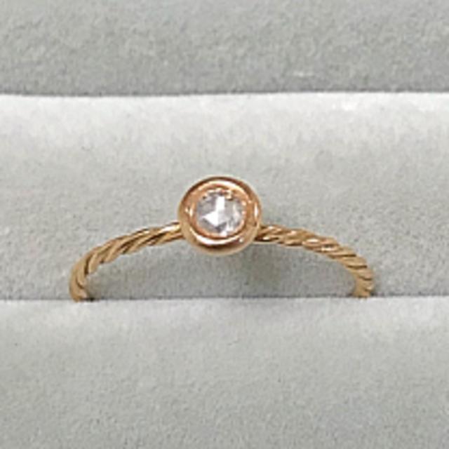 K18PG ローズカットダイヤリング マカロン レディースのアクセサリー(リング(指輪))の商品写真