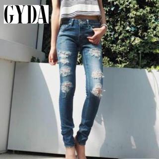 GYDA - 【GYDA】クラッシュデニムスキニーパンツ S