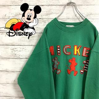 Disney - 希少 古着 90s ディズニー ミッキー スウェット 刺繍 パッチワーク