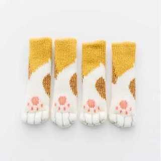 【送料無料】 猫足 猫 肉球 靴下 脚カバー 椅子 机 消音 (三毛猫)