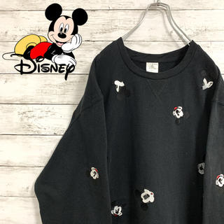 Disney - 希少 古着 90s ディズニー ミッキー スウェット 刺繍ロゴ ビッグシルエット