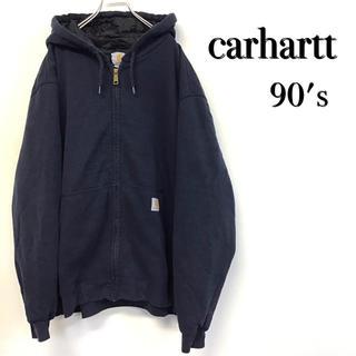 カーハート(carhartt)の美品 90's carhartt ブルゾンパーカー 中綿入り ワッペンロゴ(ブルゾン)