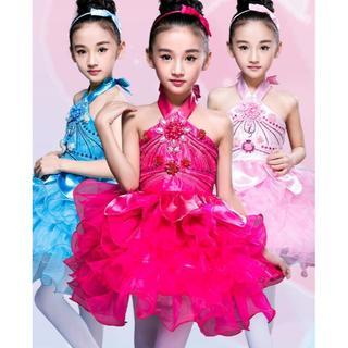 3色 子供 ダンス衣装 3点セット イベント 演出服 キラキラ 可愛い  女の子(ワンピース)