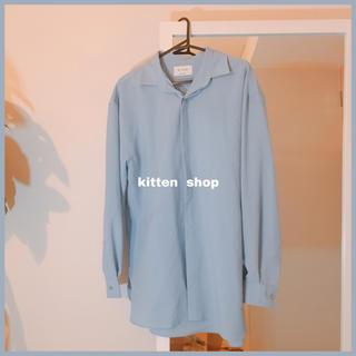 ザラ(ZARA)の彼シャツ オーバーサイズ XXL ワイシャツ ライトブルー くすみ青 インポート(シャツ/ブラウス(長袖/七分))
