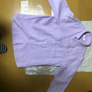 ユニクロ(UNIQLO)のユニクロ リネンシャツ パープル XL(シャツ)