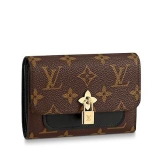 LOUIS VUITTON - ルイヴィトン 財布 LV ロゴ フラワー 3つ折り ブラック ブラワン