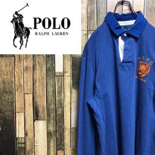 POLO RALPH LAUREN - 【激レア】ポロラルフローレン☆ナンバリングロゴ・刺繍ロゴ入りラガーシャツ 90s