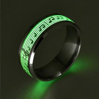 特価!ゴシックな楽譜の蓄光リング ロック、パンク系にも◎ 10、11号相当(リング(指輪))