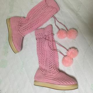 ピンク ニット 可愛い ボンボンブーツ(ブーツ)