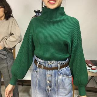 ふんわり袖リブニット グリーン