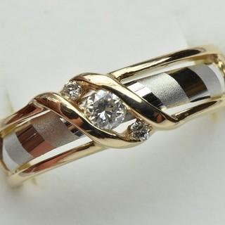 K18 Pt900 コンビ 0.15ct ダイヤモンドリング 13号 指輪  (リング(指輪))