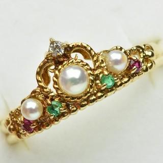 K18 ゴールド パール 真珠 マルチリング 12号 指輪  (リング(指輪))