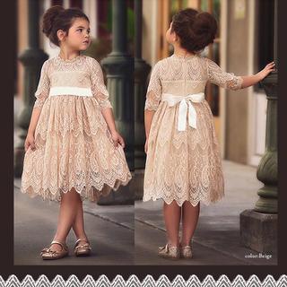 【大人気】女の子クラシカルフォーマルレースドレス おまけ付 140cm【322】(ワンピース)