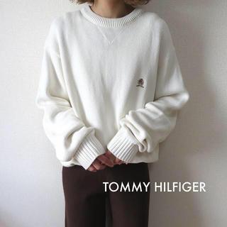 TOMMY HILFIGER - トミーヒルフィガー 刺繍ロゴ コットンニット ホワイト 古着 vintage