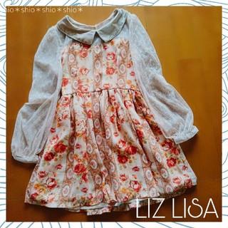 リズリサ(LIZ LISA)の《LIZ LISA》花柄 フラワー 袖ドットシースルー ワンピース 0(ミニワンピース)