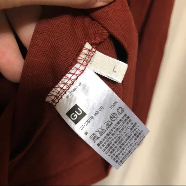 GU(ジーユー)の【新品未使用品】GU ワイン色/バーガンディ色 クルーネック シンプルロンT レディースのトップス(Tシャツ(長袖/七分))の商品写真