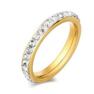 CZクリスタルリング(ゴールド)  サイズ:18号(リング(指輪))