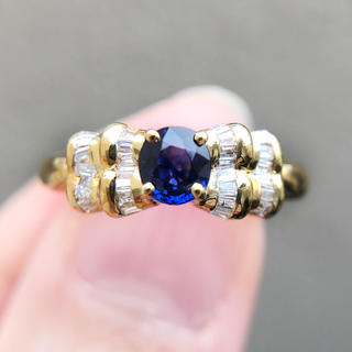 【未使用】18K サファイアダイヤモンドリング0.5ct(リング(指輪))