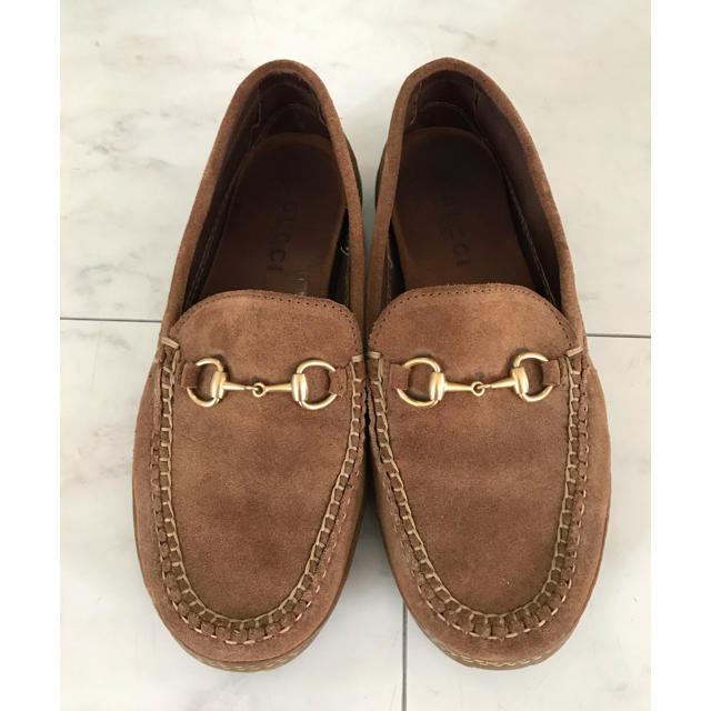 DEUXIEME CLASSE(ドゥーズィエムクラス)のGUCCI ゴールドビットローファー ブラウン キャメル  24.5〜25 レディースの靴/シューズ(ローファー/革靴)の商品写真