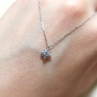 ヨンドシー(4℃)の4℃ k10 ホワイトゴールド ネックレス ダイヤモンド 花 結晶(ネックレス)