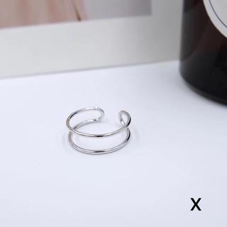 シルバー925リングX♡銀925指輪♡ダブルライン オープンデザインフリーサイズ(リング(指輪))