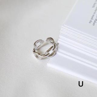 シルバーリングU♡銀925指輪U♡チェーンリング♡オープンデザイン♡フリーサイズ(リング(指輪))