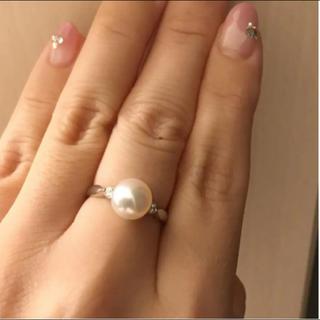 新品◆PT900 天然アコヤ 一点物 8.2ミリ珠 ダイヤ リング あこや真珠(リング(指輪))