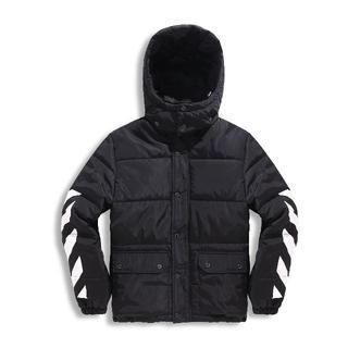 OFF-WHITE - オフホワイト中綿ジャケット メンズ  防寒 アウター フード着脱可 冬服