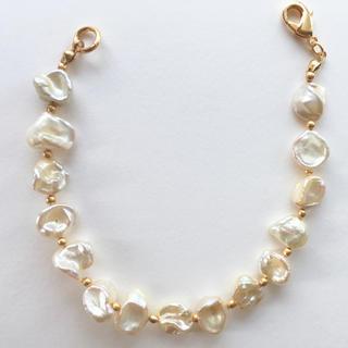 agete - 淡水パール 真珠 ブレスレット アイボリー ナチュラルホワイトパール