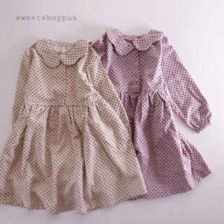 【即納】(2color) 総柄ドット ロングワンピース 子供服(ワンピース)