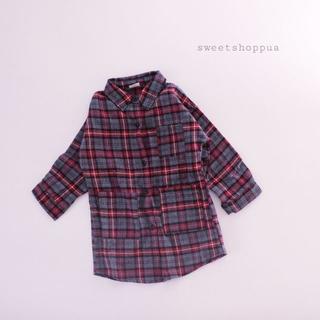【即納】 2way タータンチェック シャツ ワンピース(ワンピース)