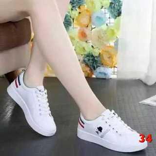 34 トリコロール ホワイト スニーカー 白 靴  23.5(スニーカー)
