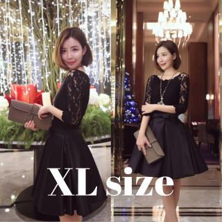ワンピース ドレス パーティー サテン レース ブラック XL(ミディアムドレス)