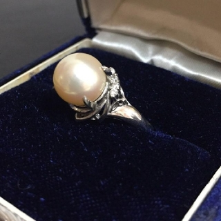 大粒 真珠 9.5mm pt900 ダイヤ 0.05 刻印 指輪リング プラチナ(リング(指輪))