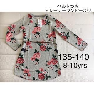 エイチアンドエム(H&M)の新品▪️H&M 花柄 ベルト付きトレーナー ワンピース♡135 140(ワンピース)