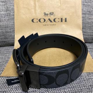 COACH - コーチ coach メンズ ベルト 黒 ブラック シグネチャー リバーシブル