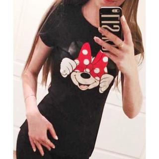 新品★パロディTシャ(XXL)黒X赤★リボンマウス半袖シャツ(Tシャツ(半袖/袖なし))