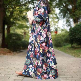 大きいサイズ 4L ゆったり リゾートワンピ♡ ロング丈 花柄(ロングワンピース/マキシワンピース)