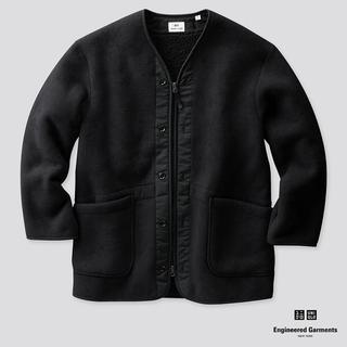 Engineered Garments - エンジニアガーメンツ コラボ フリースノーカラーコート ブラックSize-S